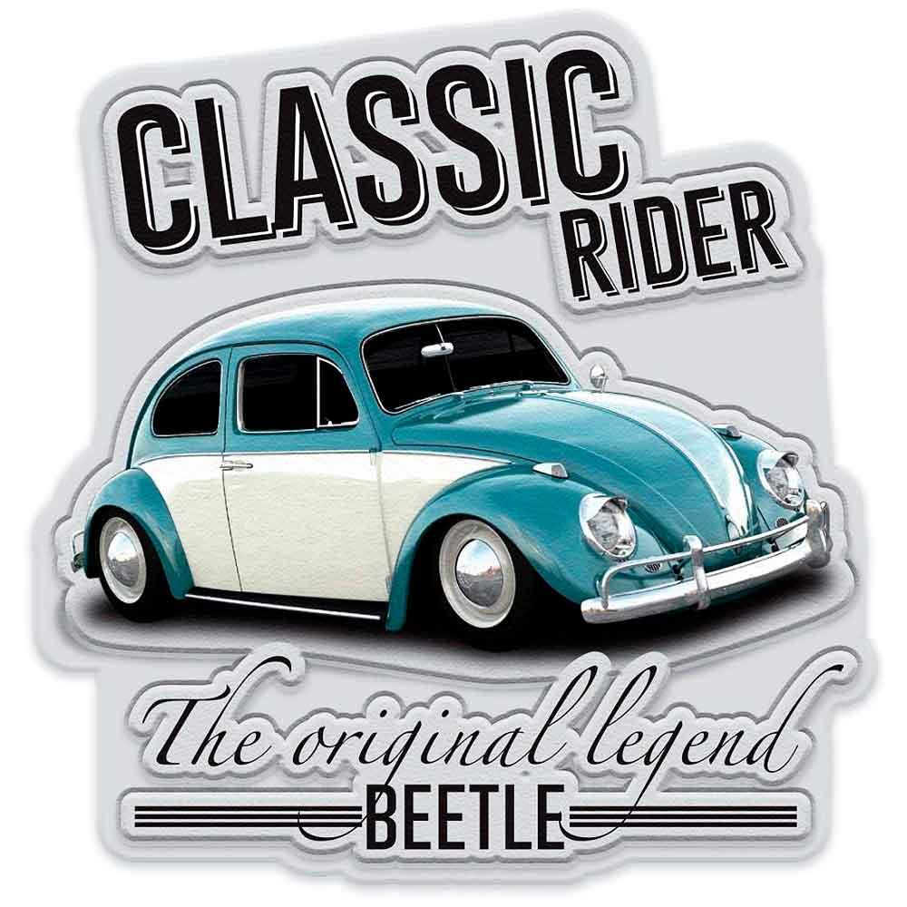 Placa-Metal-Recorte-Volkswagen-Fusca-Classic-Cinza