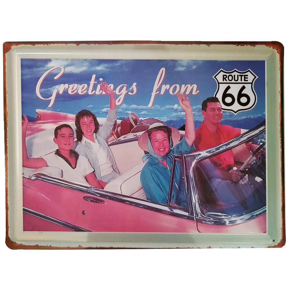 Placa-De-Metal-Greetings-From-Route-66