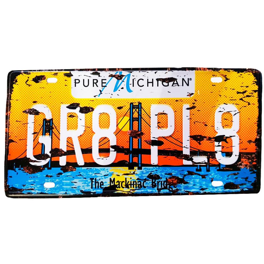 Placa-De-Carro-De-Metal-Gr8-Pl8-Pure-Michigan