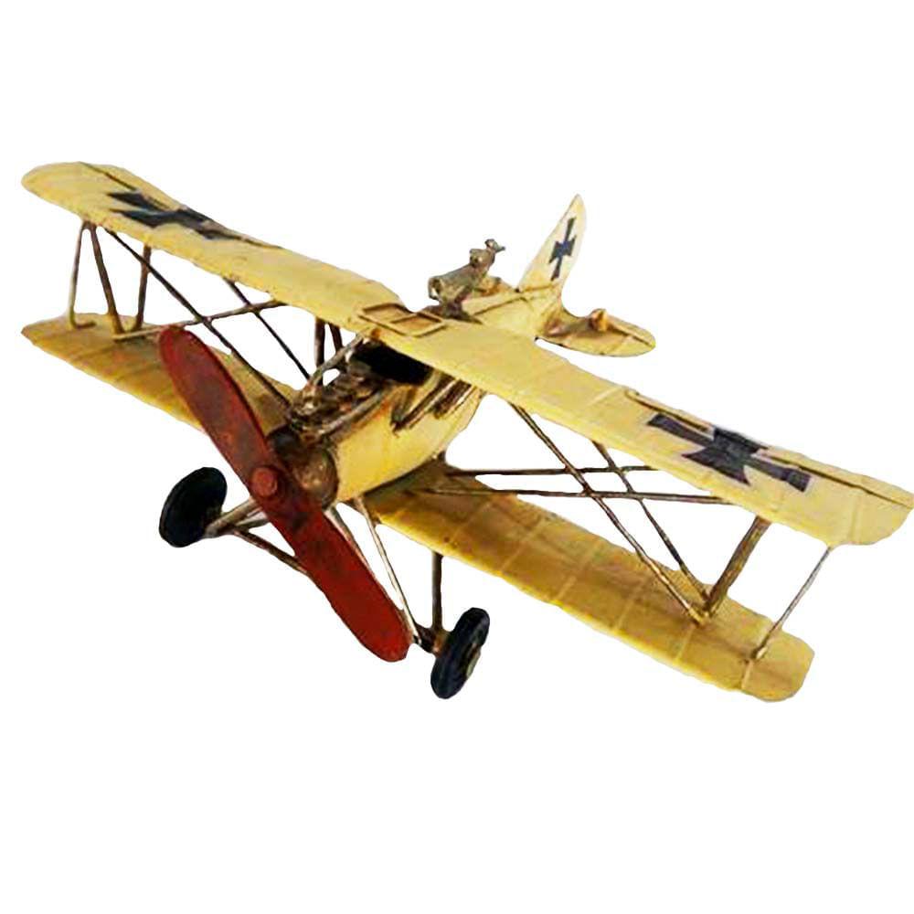Miniatura-Decorativa-Aeronave-Em-Metal-Vintage
