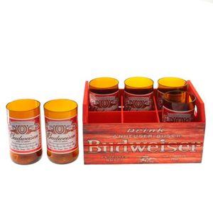 Engradado-Com-6-Copos-De-Vidro-Budweiser-Vermelho