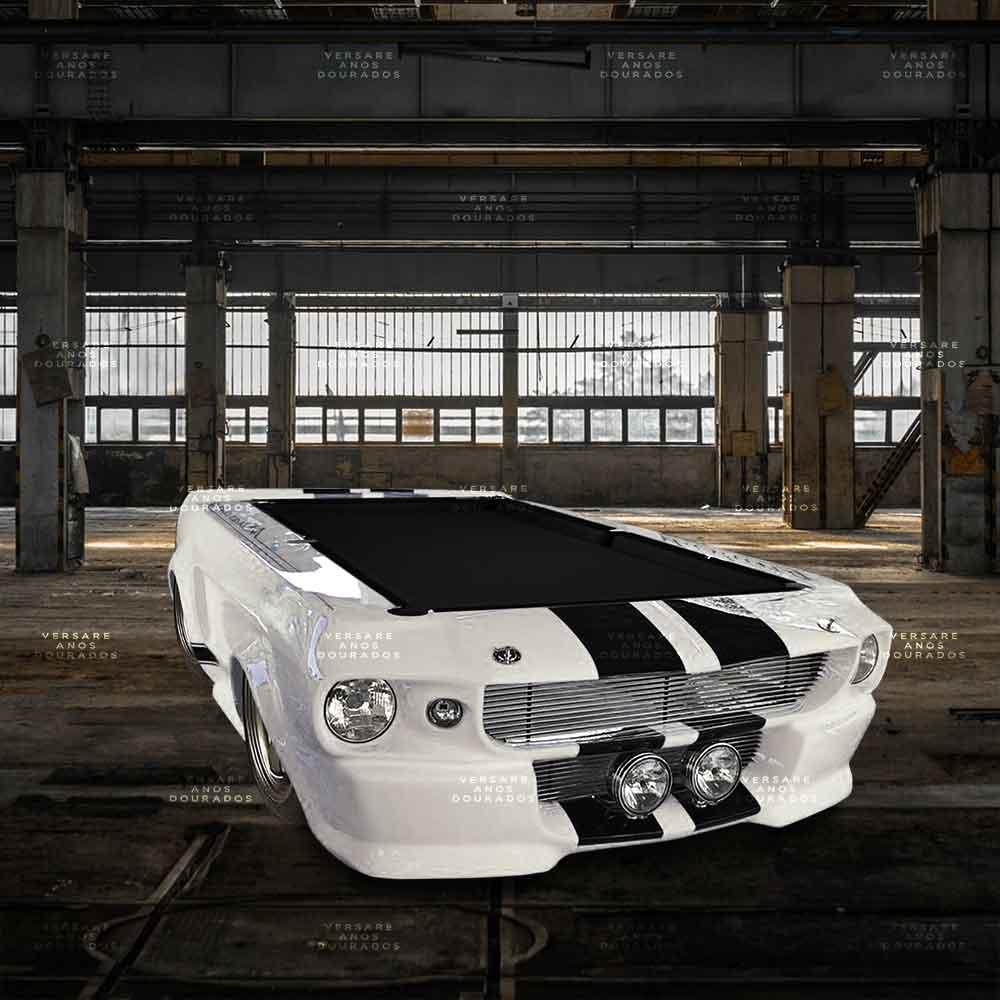 Mesa-De-Bilhar-Mustang-Rare-Color-Branco---Tecido-Preto