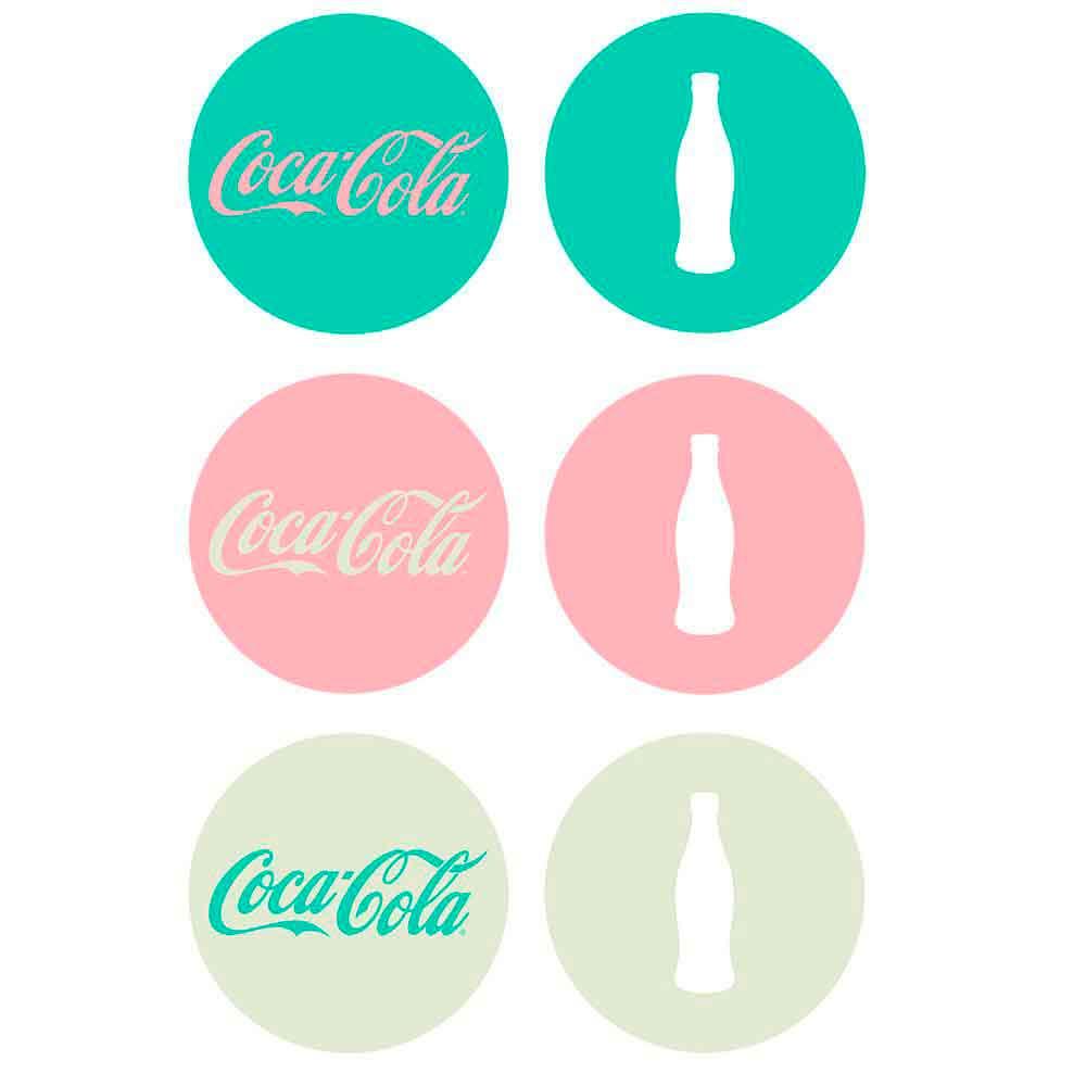 Porta-Copos-6-Pecas-Candy-Colors-And-Bottle-Coca-Cola-Retro